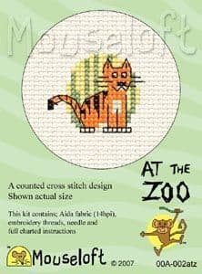 Mouseloft Tiger At The Zoo cross stitch kit